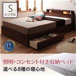 照明付き コンセント付き 収納付きベッド シングル【ベッドフレームのみ】 ブラウン 【1年保証】