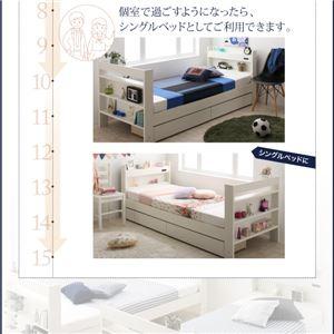 2段ベッド クイーン スタンダードタイプ(サイドガード2本付き)【薄型軽量ボンネルコイルマットレス付】フレームカラー:ホワイト クイーンサイズベッドにもなるスリム2段ベッド Whenwill ウェンウィル