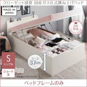 お客様組立 収納ベッド 【縦開き】シングル ショート丈 深さラージ 【フレームのみ】 フレームカラー:ホワイト クローゼット跳ね上げベッド aimable エマーブル