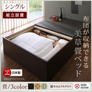【組立設置費込】 ベッド シングル 【フレームのみ】 フレームカラー:ダークブラウン 畳カラー:ブラック 組立設置付き 布団が収納できる・美草・小上がり畳ベッド - 拡大画像