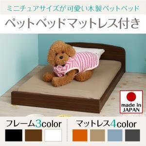 ベッド 【マットレス付】 フレームカラー:ブラウン 寝具カラー:ライトブルー ミニチュアサイズが可愛い木製ペットベッド Catnel キャトネル - 拡大画像