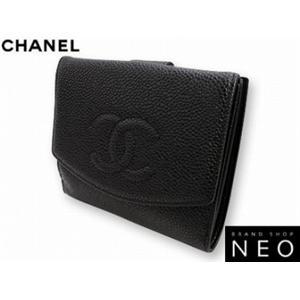 CHANEL シャネル A13496BK キャビアスキン Wホック 2つ折り 財布 ブラック - 拡大画像