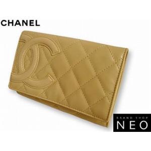 CHANEL シャネル A26722 E/BE カンボン 2つ折り 財布 ベージュ - 拡大画像