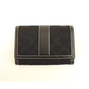 COACH(コーチ)ハンプトンズシグネチャー 40199 B4/BK コンパクトクラッチ ジップ ウォレット 2つ折財布 ブラック  - 拡大画像