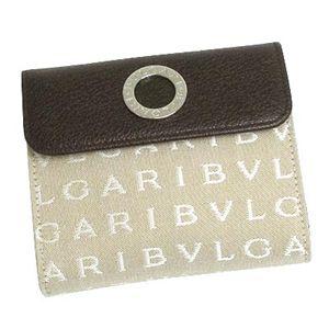 BVLGARI ブルガリ 25129 LETTERE レターレ ダブルホック財布 ベージュ×ダークブラウン×シルバー - 拡大画像