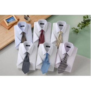 銀座・丸の内のOL100人が選んだ 半袖ワイシャツ&ネクタイセット 50217 シャツサイズ LL ワイシャツ6枚 ネクタイ8本 セット  - 拡大画像