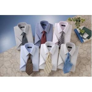 銀座・丸の内のOL100人が選んだ 半袖ワイシャツ&ネクタイセット 50216 シャツサイズ L ワイシャツ6枚 ネクタイ8本 セット - 拡大画像