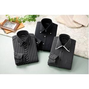 ドレスシャツ3枚組 抗菌・防臭加工ワイシャツ ブラック 50221 サイズ M - 拡大画像