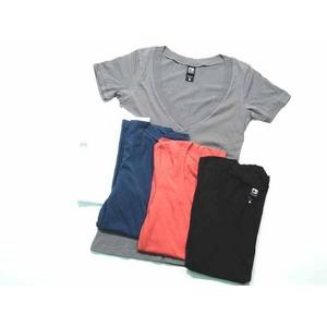 Alternative Apparel(オルタネイティブ アパレル) シアーVネックシャツ aa5060 Sheer V-Neck  M Milky Navy - 拡大画像