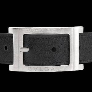 BVLGARI(ブルガリ) レザーベルト ブラック/シルバー BE-BVL-A0004-07 (23379-82)  90cm - 拡大画像