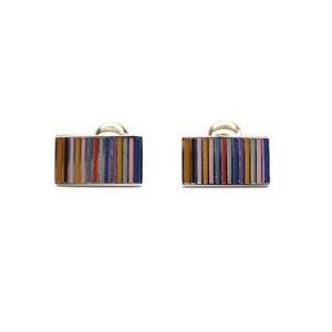 Cuffs(カフスボタン) カフリンクス マルチカラーエナメルレインボー Multi-colored Enamel Rainbow Silver Cufflinks 2009新作 - 拡大画像