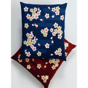八端判 座布団カバー 霞桜(同色5枚組) 紺 - 拡大画像