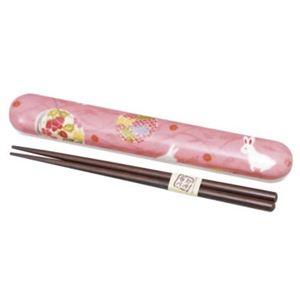 布貼 18.0箸箱セット ピンク花丸うさぎ 【2セット】 - 拡大画像