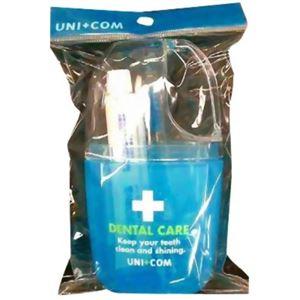 (まとめ買い)ユニコム デンタルセット コップ付き ブルー×6セット - 拡大画像