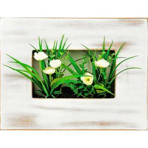 ユーパワー ウォールグリーンアート ホワイトフラワーアレンジS WG-05003 ホワイト - 拡大画像