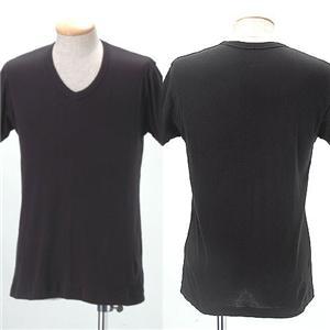 Vネックインナーマッスルシャツ(半袖)【同色2枚組】 ブラック M - 拡大画像