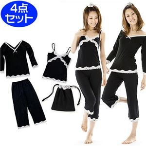 寝ながらシェイプボディパジャマ(トップス・キャミソール・パンツ・巾着袋) L - 拡大画像