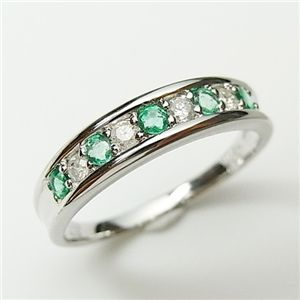 【3大宝石】プラチナ100ダイヤモンドリング エメラルド9号 - 拡大画像