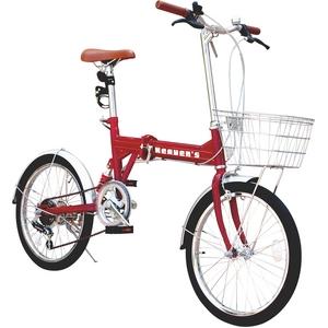 HEAVEN's(ヘブンズ) シマノ製6段変速付 20インチ折りたたみ自転車 レッド - 拡大画像