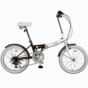 20インチ カラフル折りたたみ自転車 6段変速 TRAILER ブラウン BGC-N10-BR - 拡大画像