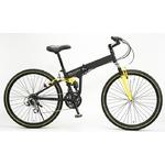WACHSEN(ヴァクセン) 折り畳み自転車 BM200-BYL 26インチ 18段変速 ブラック/イエロー (マウンテンバイク)