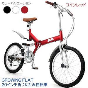 GROWING FLAT 20インチ 折りたたみ自転車 ワインレッド - 拡大画像