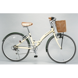 WACHSEN(ヴァクセン) 折りたたみ自転車 BC626-WB 26インチ シマノ6段変速付 アイボリー/モスグリーン (シティサイクル) - 拡大画像