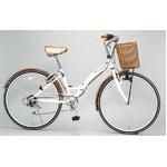 WACHSEN(ヴァクセン) 折りたたみ自転車 BC626-WB 26インチ シマノ6段変速付 ホワイト/ブラウン (シティサイクル)