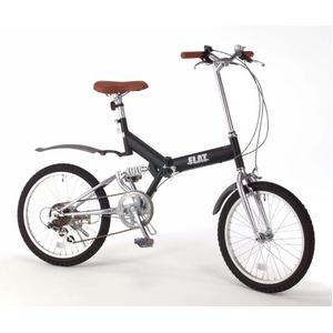 20インチ折畳自転車 グローイングフラット ツヤ消しカラー/ブラック + 自転車アクセサリー4種セット - 拡大画像