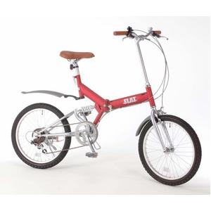 20インチ折畳自転車 グローイングフラット ツヤ消しカラー/ワインレッド + 自転車アクセサリー4種セット - 拡大画像