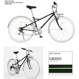 PRIMARY(プライマリー) 6段変速 クロスバイク BGC-700-GR グリーン+折りたたみバスケット+ワイヤーロック+LEDライト - 拡大画像