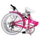 HEAVEN's(ヘブンズ) 20インチ カラフル折り畳み自転車 BGC-106-PK 6段変速 ピンク + ブラケット式ワイヤーロック+LED白色ライト - 縮小画像3