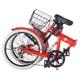 HEAVEN's(ヘブンズ) 20インチ カラフル折り畳み自転車 BGC-K206-RD カギ/カゴ/ライト付 6段変速 レッド - 縮小画像4