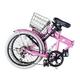 HEAVEN's(ヘブンズ) 20インチ カラフル折り畳み自転車 BGC-K206-PK カギ/カゴ/ライト付 6段変速 ピンク - 縮小画像4