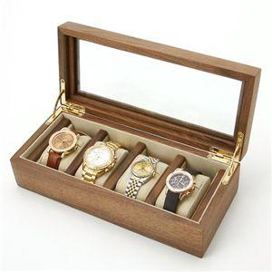 時計収納4本用 ウォルナットケース 4本用 ブラウン - 拡大画像