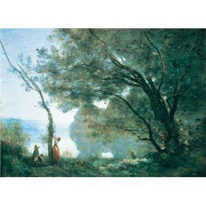 世界の名画シリーズ、プリハード複製画 ジャン・バティスト・カミーユ・コロー作 「モルトフォンテーヌの追憶」 - 拡大画像