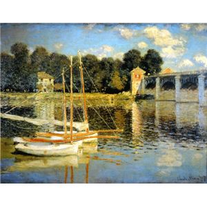 世界の名画シリーズ、プリハード複製画 クロード・モネ作 「アルジャントゥーユの橋」 - 拡大画像