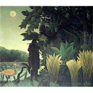 世界の名画シリーズ、プリハード複製画 アンリ・ルソー作 「蛇使いの女」 - 拡大画像