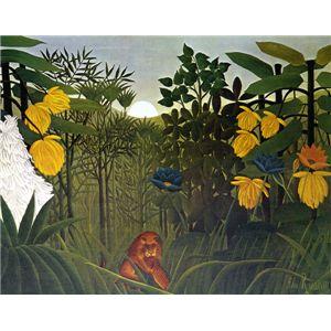 世界の名画シリーズ、プリハード複製画 アンリ・ルソー作 「ライオンの食事」 - 拡大画像