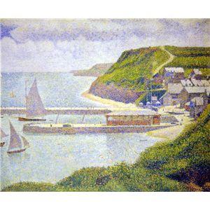世界の名画シリーズ、プリハード複製画 ジョルジュ・スーラ作 「ポール・アン・ベサンの港」 - 拡大画像