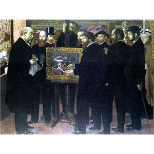 世界の名画シリーズ、プリハード複製画 モーリス・ドニ作 「セザンヌ礼賛」 - 拡大画像