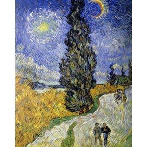世界の名画シリーズ、プリハード複製画 ヴィンセント・ヴァン・ゴッホ作 「糸杉と星の道」 - 拡大画像