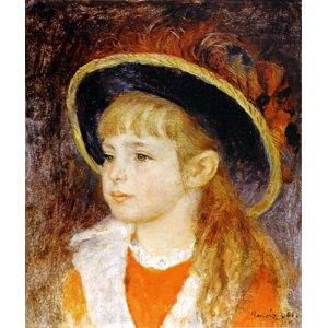 世界の名画シリーズ、プリハード複製画 ピエール・オーギュスト・ルノアール作 「青い帽子の少女」 - 拡大画像