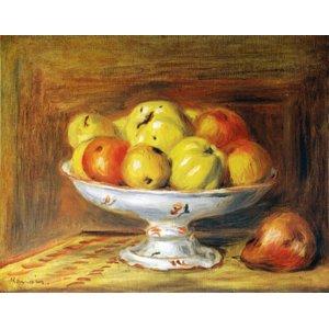 世界の名画シリーズ、プリハード複製画 ピエール・オーギュスト・ルノアール作 「リンゴ」 - 拡大画像