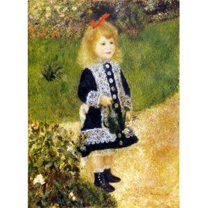 世界の名画シリーズ、プリハード複製画 ピエール・オーギュスト・ルノアール作 「じょうろを持つ少女」 - 拡大画像