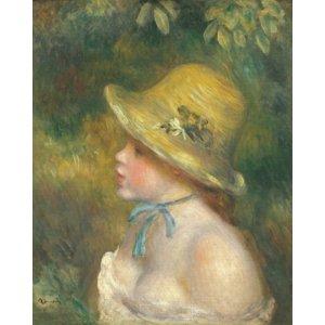 世界の名画シリーズ、プリハード複製画 ピエール・オーギュスト・ルノアール作 「麦わら帽子を被った若い娘」 - 拡大画像