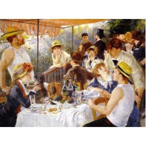 世界の名画シリーズ、プリハード複製画 ピエール・オーギュスト・ルノアール作 「舟遊びをする人々の昼食」 - 拡大画像