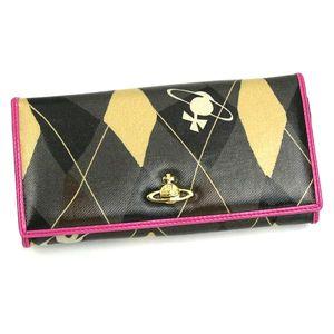 Vivienne Westwood(ヴィヴィアン ウエストウッド) 長札財布 NEW HARLEQUIN 1032 ブラック/ピンク   【ブランド7sale】11月9日15時まで限定値下げ3個限り - 拡大画像