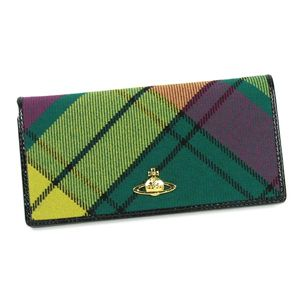 Vivienne Westwood(ヴィヴィアン ウエストウッド) 長札財布 WINTER TARTAN 736 ライト.グリーン  - 拡大画像