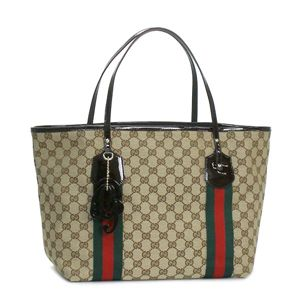GUCCI(グッチ) トートバッグ 211970 TOTE DOUBLE SHOULDER LARGE ベージュ/ダークブラウン - 拡大画像